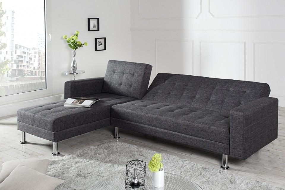 Loungebank model chaise slaapfunctie antraciet - Moderne hoek lounge ...