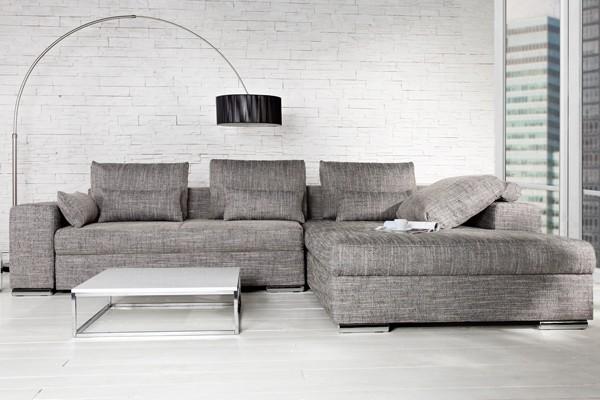Hoekbank Bruin Gemeleerd.Loungebank Model Vincenza Antraciet