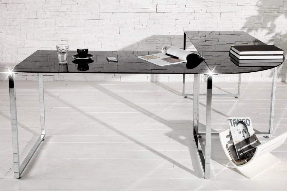 Bureau Met Glazen Blad.Bureau Model Studio Zwart Glas