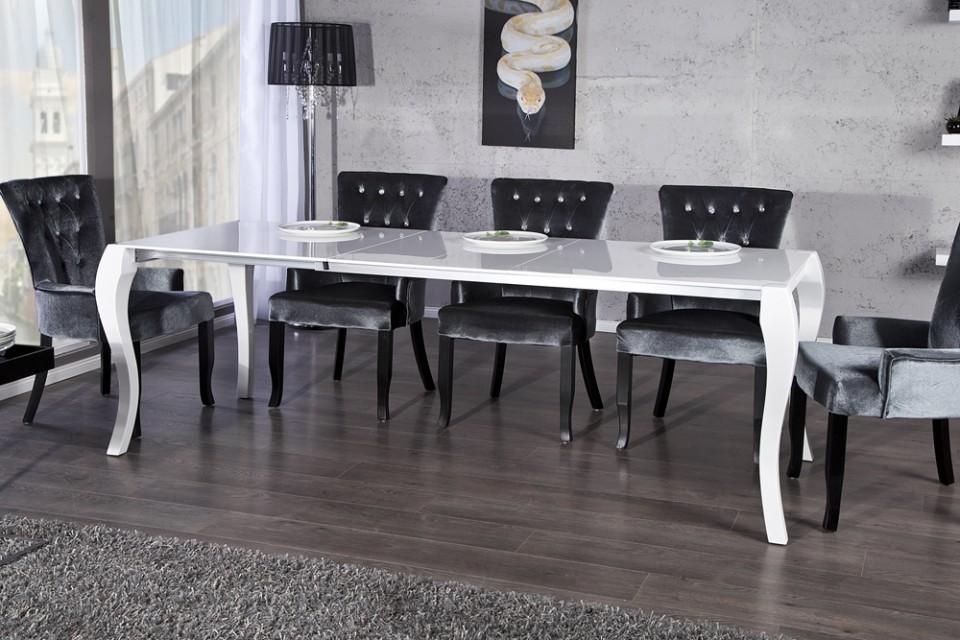 Eettafel Model  Barocco Wit   uitschuifbaar