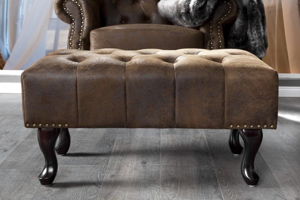 hocker model chesterfield antiek bruin. Black Bedroom Furniture Sets. Home Design Ideas
