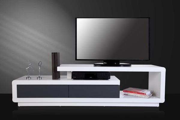 Tv hifi meubel model spring wit grijs for Hifi meubel