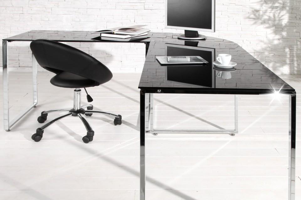 bureau model studio zwart glas. Black Bedroom Furniture Sets. Home Design Ideas