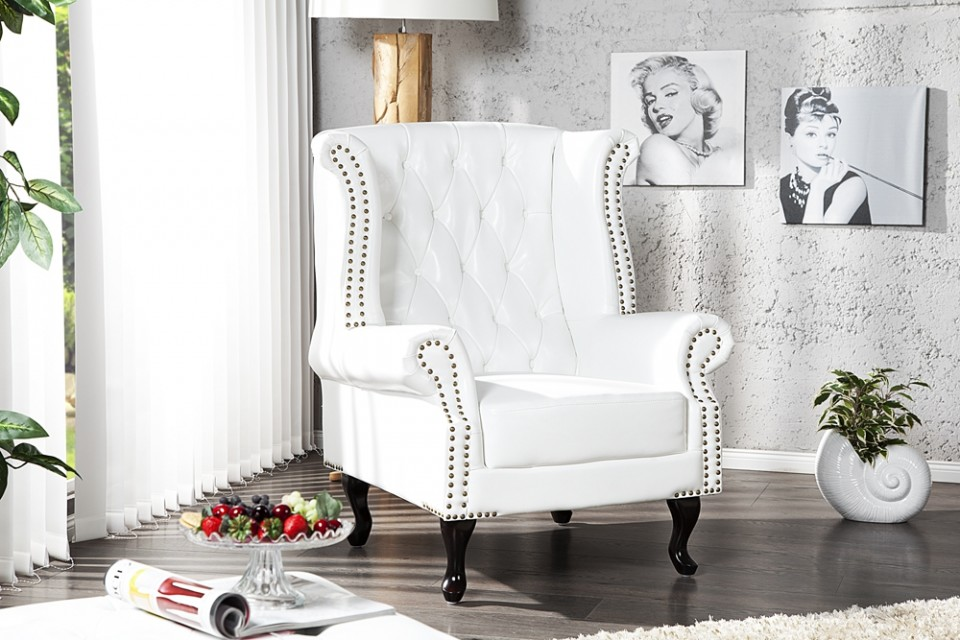 fauteuil model chesterfield klassiek wit. Black Bedroom Furniture Sets. Home Design Ideas