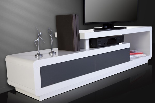 Tv hifi meubel model spring wit grijs - Decoratie salon grijs wit ...