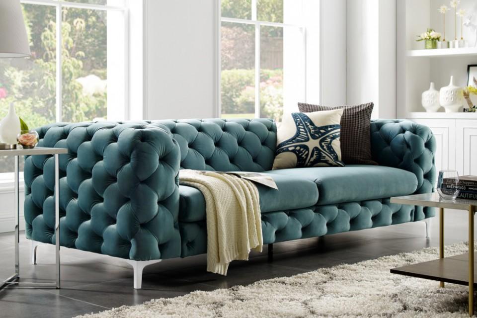 Beste Fluwelen aqua sofa MODERNE BAROK 3-zits Chesterfield bank GF-92