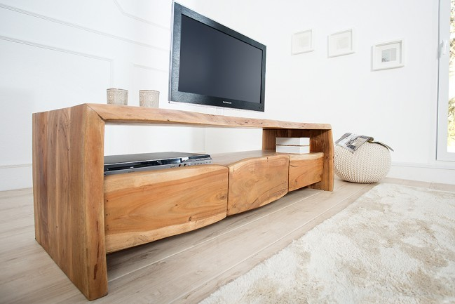 massive boomstam tv boord mammut ii 160 cm lowboard acacia massief hout. Black Bedroom Furniture Sets. Home Design Ideas