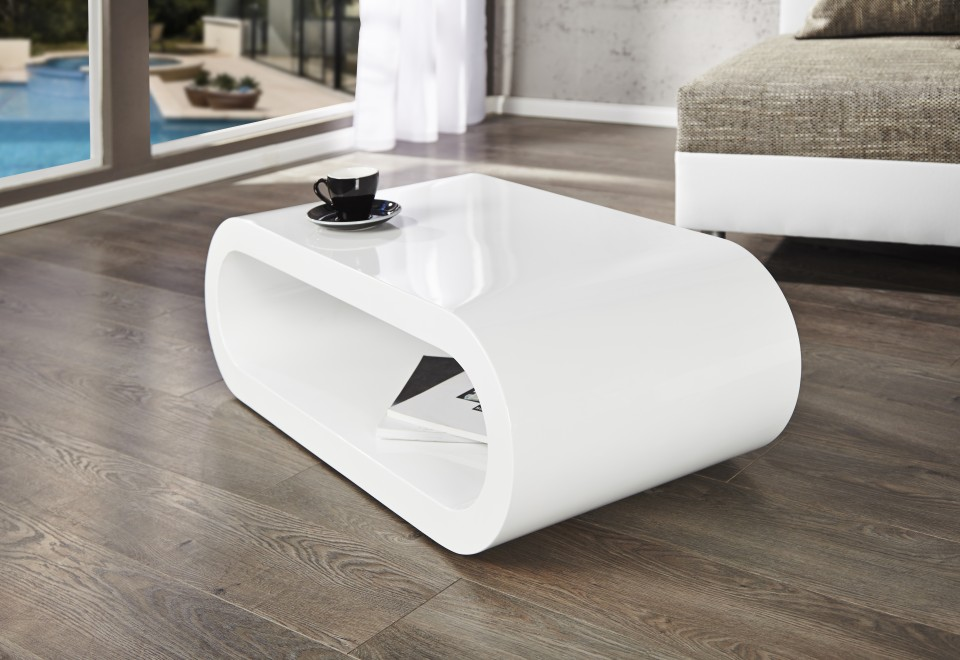 Witte Salon Tafel : Salontafel model bowl hoogglans wit