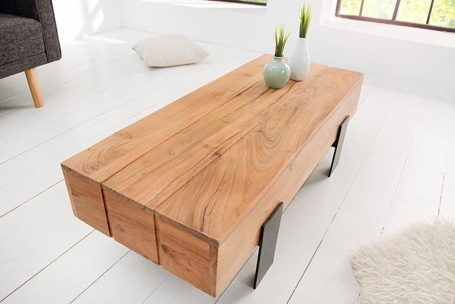 Houten Salontafels Modern.Grote Salontafel Acacia Hout Lumberjack Speciale Leren Frame Van Mat
