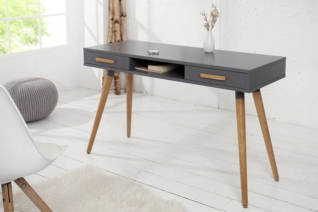 ontwerp retro desk scandinavia 120cm grafiet echte eiken console. Black Bedroom Furniture Sets. Home Design Ideas
