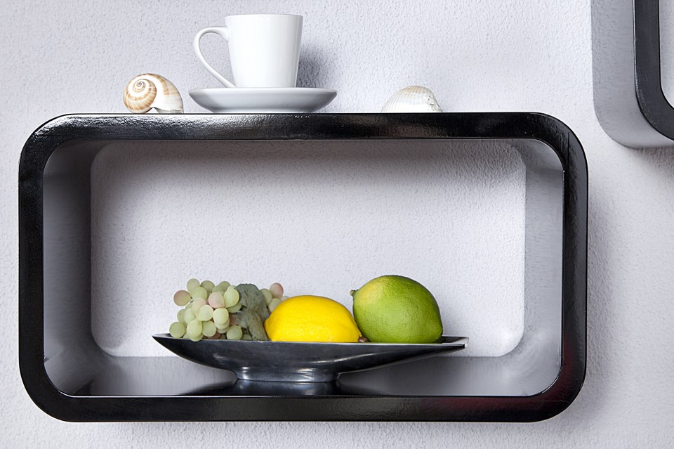 ... / REKKEN / Wandplank Model: Club Cube 4-er Set - Zwart - 11364