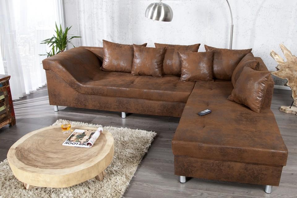 loungebank model trendy bruin volledig napalon leder. Black Bedroom Furniture Sets. Home Design Ideas