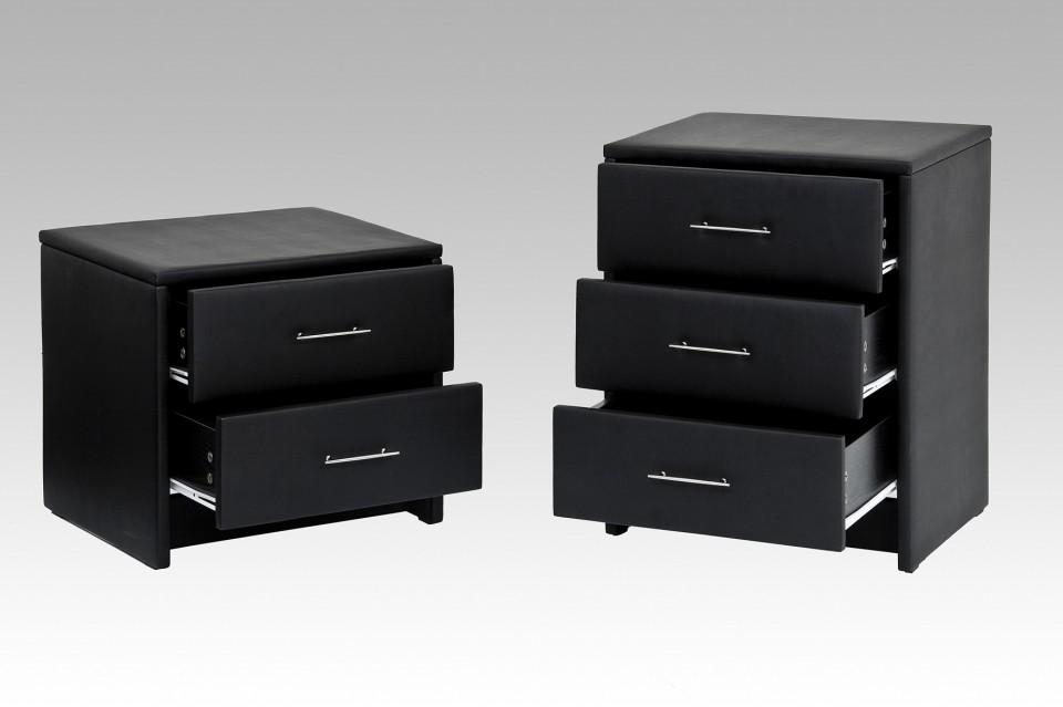 Nachtkastje model r kim 2 lades zwart - Moderne nachtkastje ...