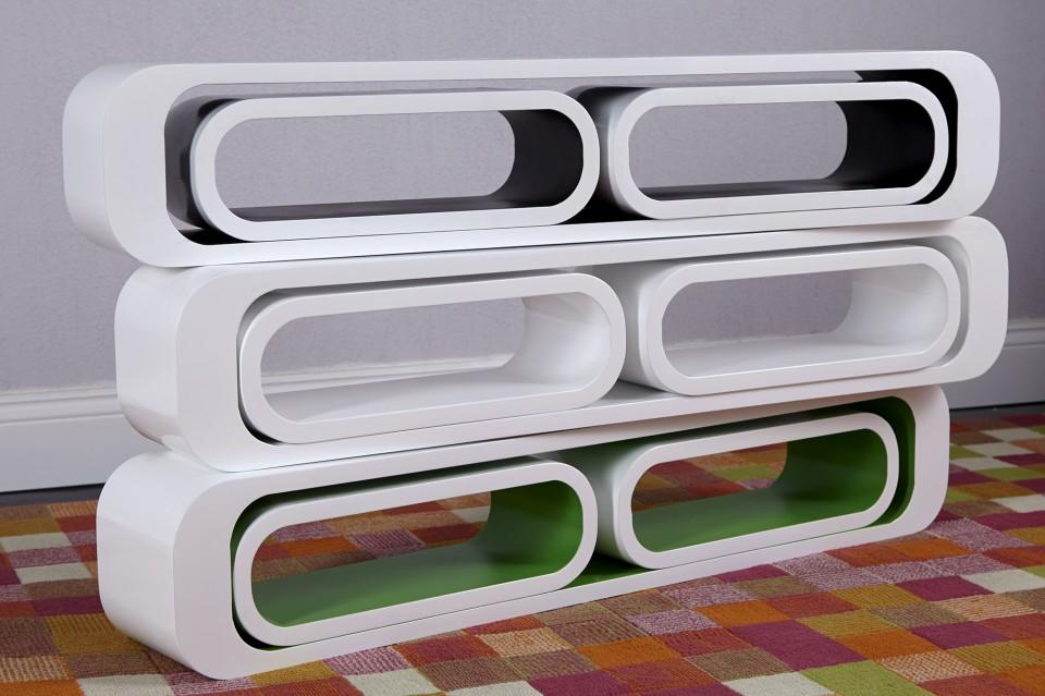 Wandplank Retro Cubes.Wandplank Model Cube 3 Set Wit