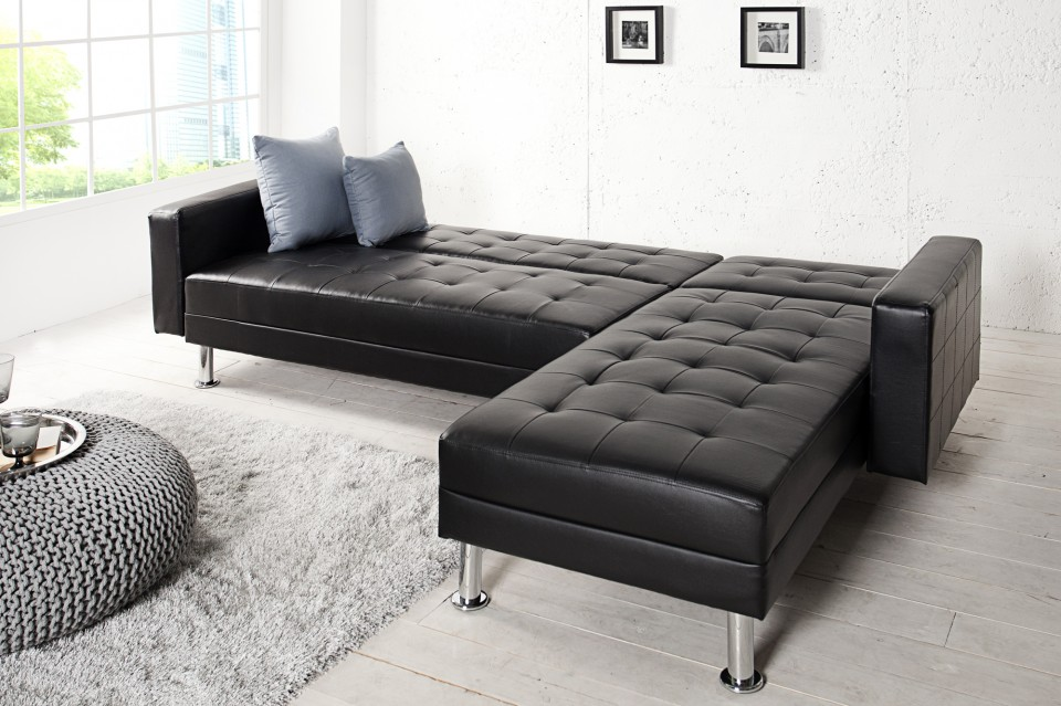 Hoekbank Chaise Lounge.Loungebank Model Chaise Slaapfunctie Zwart