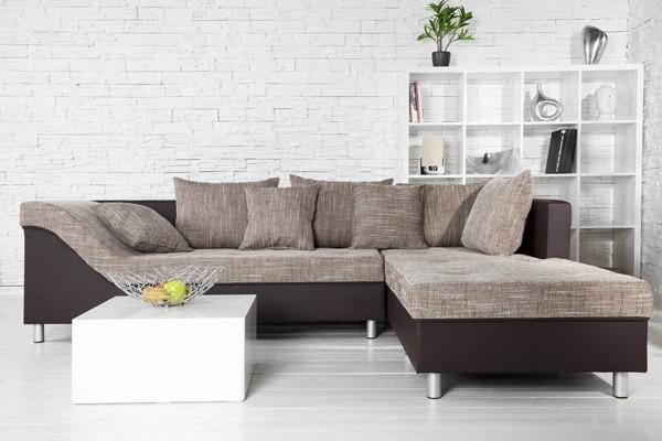 Loungebank model trendy bruin cappuccino - Moderne hoek lounge ...