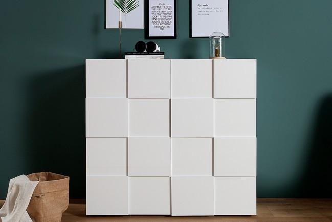 Witte Hoogglans Sidetable.Moderne Highboard Relief 120 Cm Witte Hoogglans