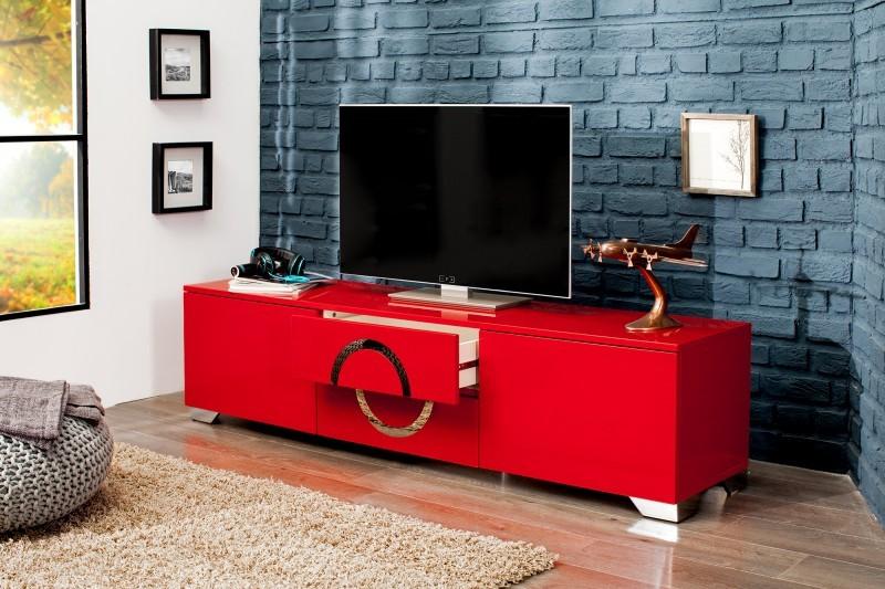 Tv hifi meubel model zhen 180cm hoogglans rood for Hifi meubel