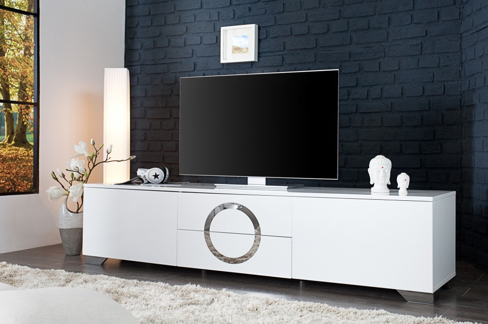 Tv hifi meubel model zhen cm hoogglans wit