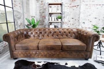 Chesterfield 3-zits bank 205cm antiek bruin met knoopsluiting en veerkern