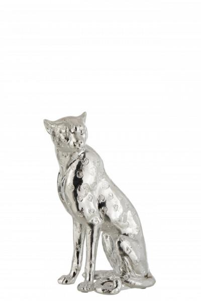 Deco beeld Luipaard Poly Zilver Small 30cm