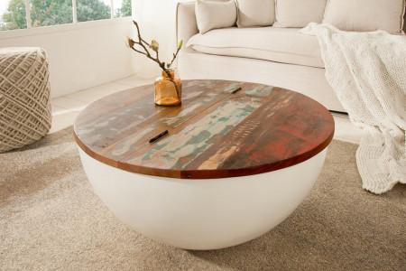 Design salontafel JAKARTA 70cm wit rond gemaakt van gerecyclede vissersboten met opbergruimte
