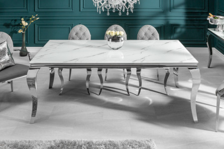 Elegante eettafel MODERN BAROK 200cm glazen blad in marmerlook roestvrijstalen poten