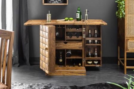 Handgemaakte barkast MOSAICO 130 cm Sheesham houtsteen afwerking 3D-effect afbeeldingen