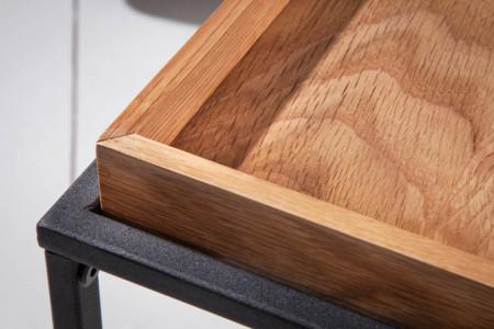 Industriële salontafel ELEMENTS 60 cm naturel eiken afneembaar blad