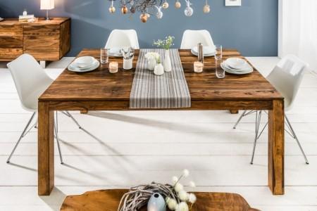 Massief Verlengbare Eettafel PURE 160-240cm met platen Sheesham-steenfinish