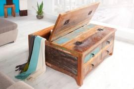 Massieve salontafel van gerecyclede houten vissersboten JAKARTA 70cm kleurrijke met lades