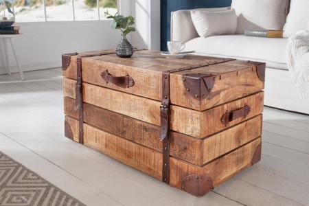 Salontafel Box massief mango hout met opbergruimte 82 cm