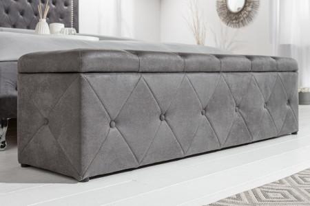 chesterfield design bank met opbergruimte EXTRAVAGANCIA 140 cm antiek grijs