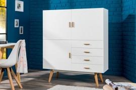 Design dressoir SCANDINAVIA  140cm wit met echte eiken afbeeldingen