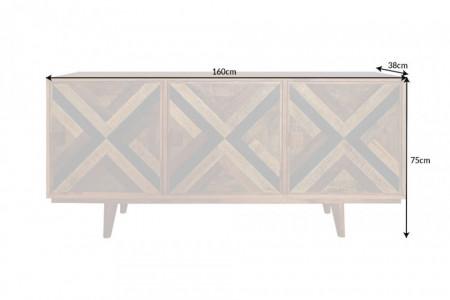Elegant dressoir LONG ISLAND Mangohouten look 160 cm met retro patroon afbeeldingen