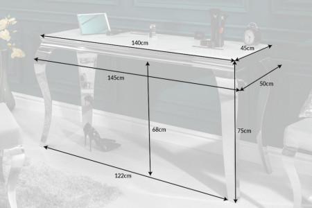 Elegante consoletafel MODERN BAROK 145 cm glasblad in marmerlook roestvrijstalen poten