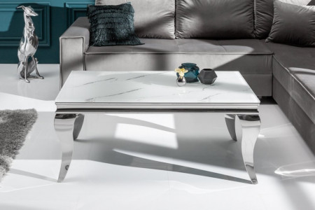 Elegante salontafel MODERN BAROK 100cm glazen blad in marmerlook roestvrijstalen poten