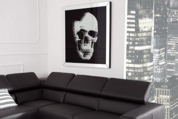 Exclusieve afbeelding wanddecoratie MIRROR SKULL 100x100cm Diamond Skull XXL