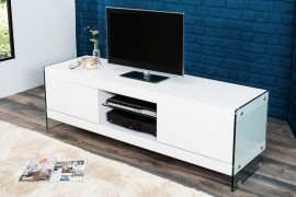 Lowboard FLOATING wit hoogglans glassamenstelling TV board afbeeldingen