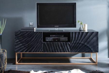 Massief mangohout zwart tv-meubel 160 cm, gedetailleerd 3D-houtsnijwerk