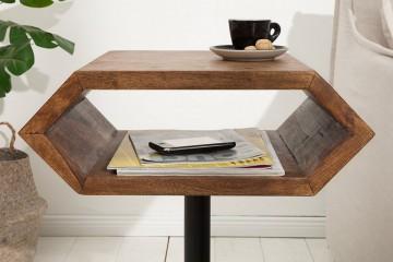 Massief sheesham hout bijzettafel met kranten vak
