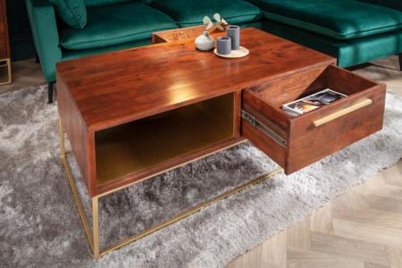 Moderne salontafel met laden acaciahout 110 cm acaciahout bruin goud
