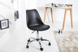 Retro design klassieker bureaustoel SCANDINAVIA  zwart met een hoge kwaliteit verchroomd stoelframe afbeeldingen