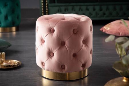 Roze gecapitonneerd Elegante Poef Chesterfield oud rose goud fluweel 37 cm
