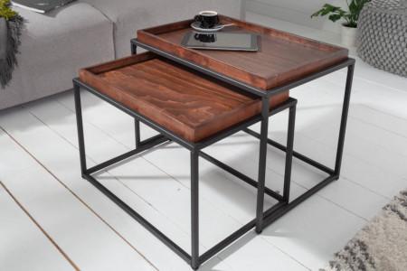 Set van 2 industriële salontafels ELEMENTS 60 cm mokka beuken verwijderbaar blad afbeeldingen