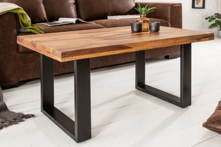 Solide salontafel IRON CRAFT 100 cm Sheesham steen industrieel design