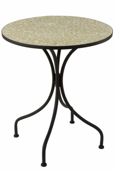 Binnen balkon terras tafel Mozaiek Metaal/Glas Zwart/Licht Geel / muntgroen 61cm