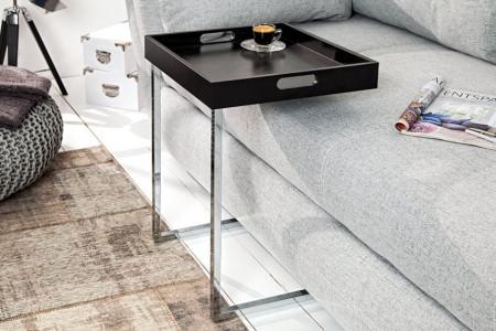 Design bijzettafel CIANO 40cm zwart chromen dienbladtafel