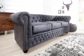 Elegant Chesterfield 3-zits grijs in antieke look dichtknopen en studs afbeeldingen