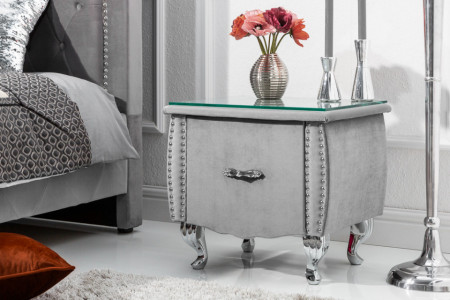 Elegant nachtkast zilvergrijs fluwelen stof met La